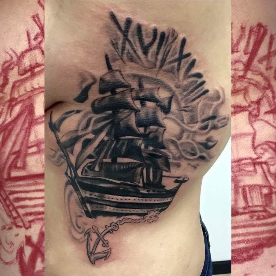 Black and Gray Ship Custom Tattoo - Firme Copias
