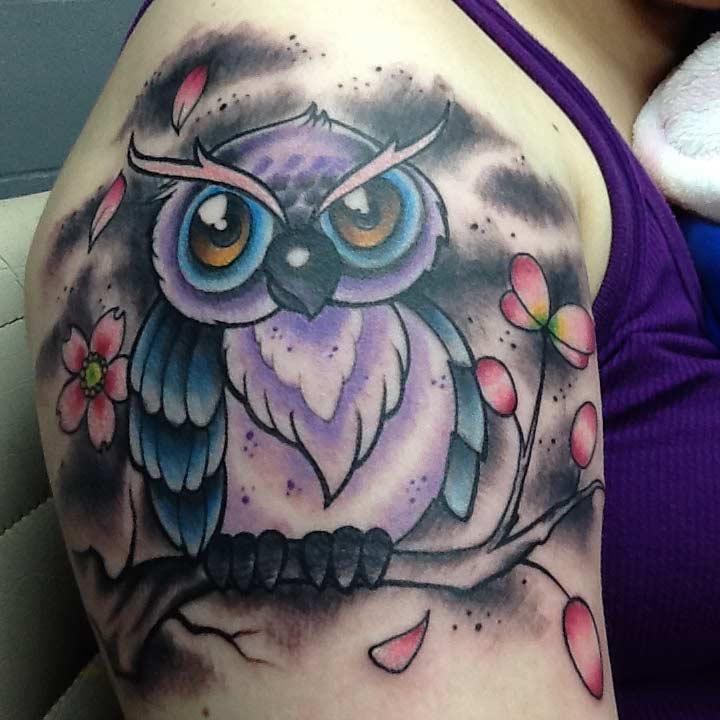 Owl Tattoo in San Antonio - Firme Copias