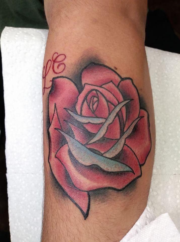 Rose Custom Tattoo in San Antonio- Firme Copias