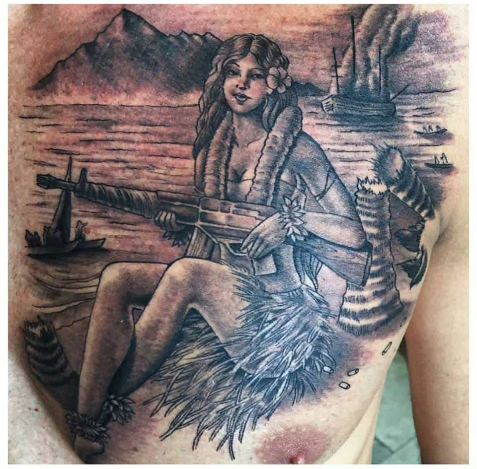 Hawaiian Lady with Gun Custom Tattoo - Firme Copias