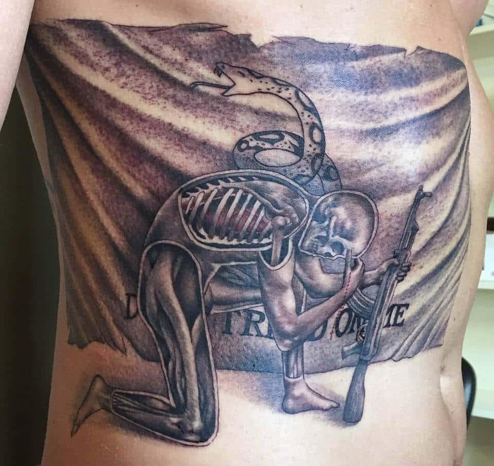 Skeleton Custom Tattoo in San Antonio - Firme Copias