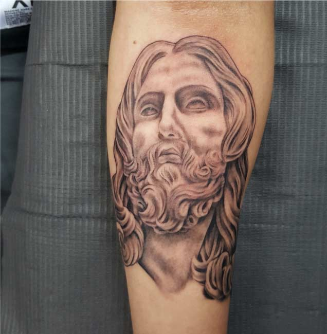 Jesus Christ Custom Tattoo by Tattu Tim - Best portriat tattoo artist San Antonio - Firme Copias
