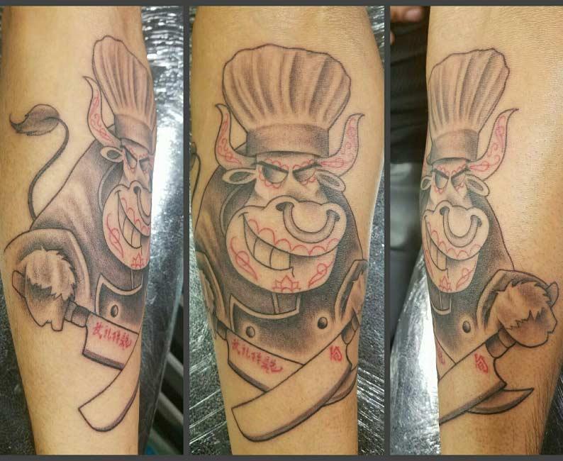 Bull Cartoon Custom Tattoo - Firme Copias- Excellent Tattoo shop in San Antonio